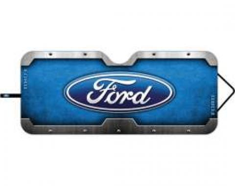 Ford Windshield Sun Shade,Accordion Style,With Ford Blue Oval Logo