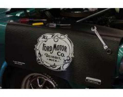 Fender Gripper® Cover, White Original Early Ford Motor Company Logo On A Black Background