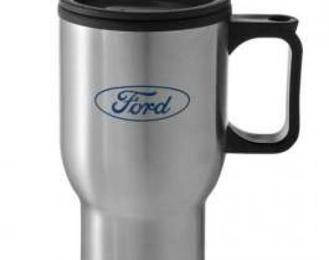 Stainless Mug, W/ Lid, Blue Oval W/ Script, Ford