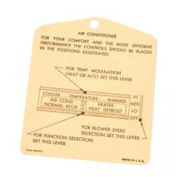Instruction Tag, Heater, Galaxie, 1965