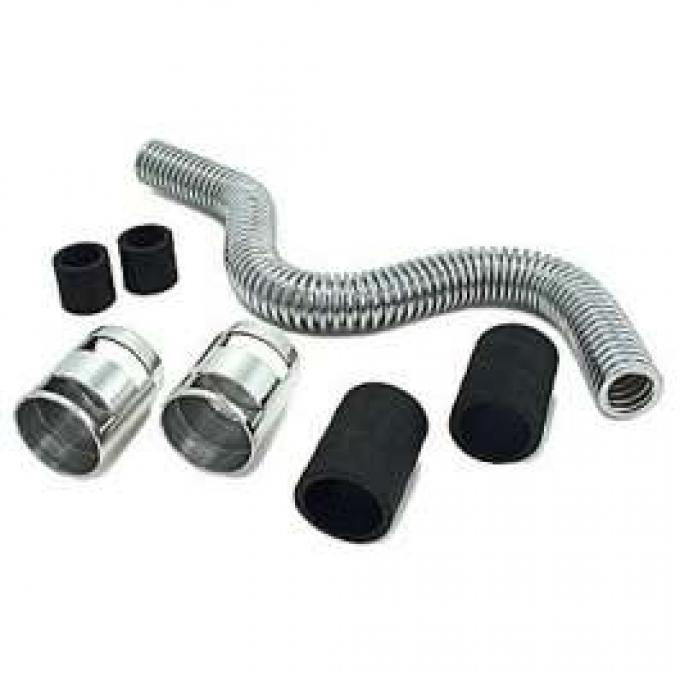 24 INCH STAINLESS STEEL RADIATOR HOSE KIT WITH CHROME ENDS