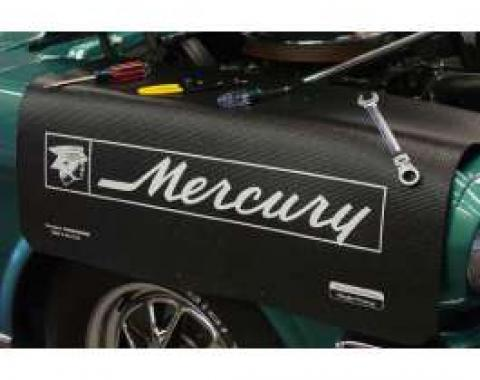Fender Gripper® Cover, White Mercury Logo On A Black Background