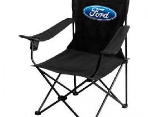 Folding Chair, Black With Blue Ford Oval