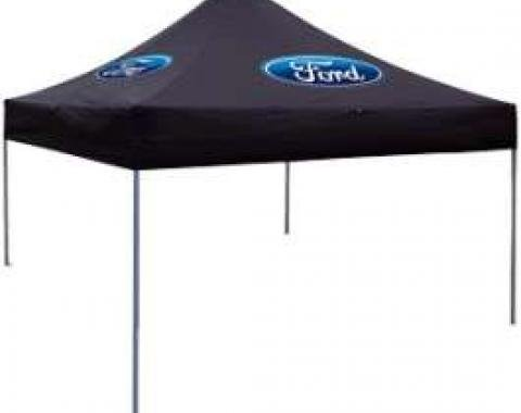 Folding Canopy, Black With Blue Ford Oval