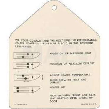 Instruction Tag, Heater, Galaxie, 1961