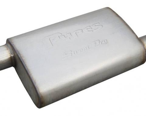 Pypes Street Pro Series Muffler 14 in 2.5 in Offset/Offset Hardware Not Incl Natural 409 Stainless Steel Exhaust MVS10