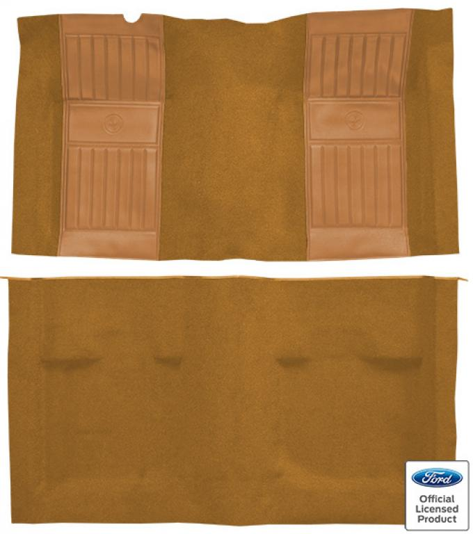 ACC  Ford Mustang Mach I with 2 Medium Saddle Running Pony Inserts Fastback Nylon Carpet, 1971-1973
